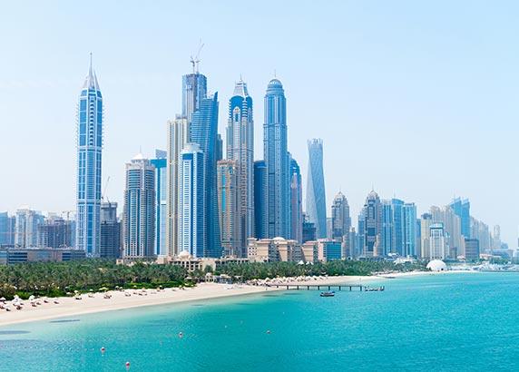 De witte stranden van Dubai